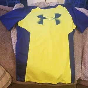 Boys xl under armour mesh back shirt blue yellow
